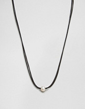Dogeared Double Black Leather Cord Large White Pearl Choker Necklace