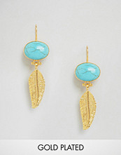 Ottoman Hands Feather & Stone Earrings