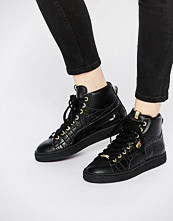 Puma Basket Black Mid Exotic Croc Texture Trainers