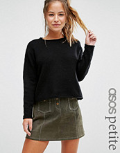 ASOS Petite Cropped Jumper with Rolled Edge Detail in Fluffy Yarn