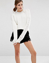 Fashion Union Cropped Knitted Jumper With Textured Sleeves