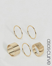 ASOS Curve Pack of 5 Pyramid Ring Pack