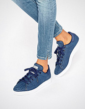 Adidas Originals Navy Embossed Snake Suede Stan Smith Trainers