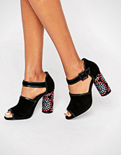 Kat Maconie Sierra Black Embellished Heel Leather Sandals