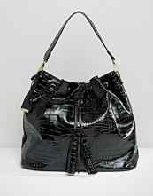 Glamorous Drawstring Backpack in Moc Croc