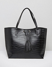 Glamorous Moc Croc Tote Bag With Eyelet & Drawstring Detail