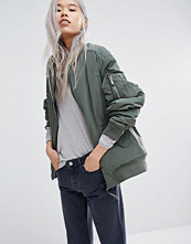 Weekday Padded Bomber Jacket with Contrast Lining