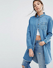 Daisy Street Relaxed Denim Shirt Jacket With Raw Hem