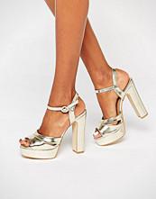 Public Desire Penny Gold Platform Heeled Sandals