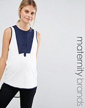 Mamalicious Mamalicious Nursing Woven Top With Colour Block Placket