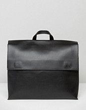 Pieces Minimal Black Backpack With Black Fastening Detail