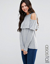 Asos Tall Fine Jumper With Ruffle Cold Shoulder