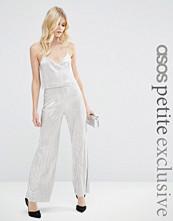 ASOS Petite Metallic Pleat Jumpsuit with Crop Top Layer