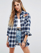 Reclaimed Vintage Checked Shirt With Flame Patches