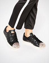Adidas Originals Black Superstar Trainers With Copper Metal Toe Cap