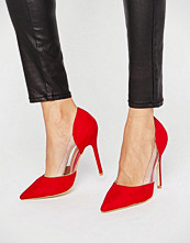 Public Desire Keely Clear Detail Red Court Shoes