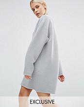 Monki Exclusive Oversized Grid Sweat Dress