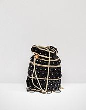 Reclaimed Vintage Velvet Beaded Pouch Bag