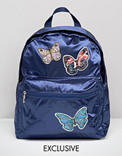 Reclaimed Vintage Satin Backpack with Butterfly Patches