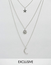 Reclaimed Vintage Sun Moon & Stars Layered Necklace