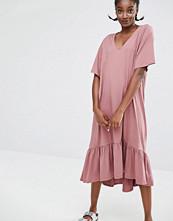 Monki Exclusive Ruffle Hem Midi Dress