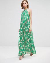 Adelyn Rae Crackle Print Halter Maxi Dress