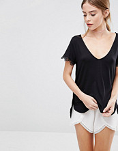 Vila V Neck T-Shirt with Lace Trim
