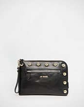 Love Moschino Studded Leather Clutch Bag