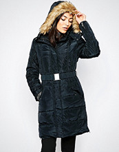 Ichi Belted Parka With Faux Fur Hood