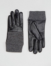 ASOS Leather And Knit Mix Gloves With Touch Screen