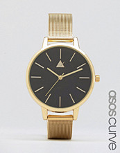ASOS Curve Large Matte Black Face Watch With Skinny Mesh Strap