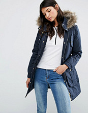 Brave Soul Hooded Parka With Faux Fur Trim