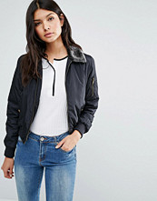 Brave Soul Bomber Jacket With Faux Fur Trim
