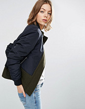 ASOS Jacket in Contrast Fabrics with Funnel Neck