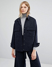 Native Youth Oversized Pin Stripe Trucker Jacket Co-Ord