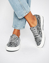 Superga Classic Plimsoll Trainers In Snake Print