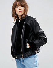 ASOS Faux Leather Biker Jacket with Fur Panels