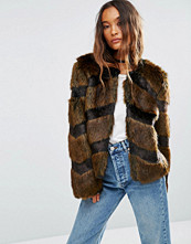 ASOS Faux Fur Jacket in Chevron Stripe