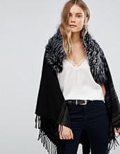 Jayley Stripe Dark Grey Oversize Coat With Fur Trim