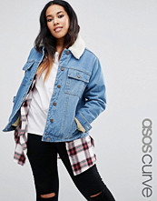 ASOS Curve Denim Cropped Jacket with Borg Lining