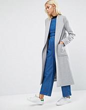 Helene Berman Drapey Longline Jacket In Pale Grey