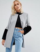 Helene Berman Faux Fur Cuff Coat In Grey With Black Fur