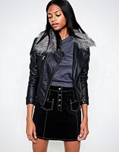 Barneys Originals Asymmetric PU Jacket With Faux Fur Collar