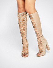 KENDALL + KYLIE Beige Tie Up Knee Sandals