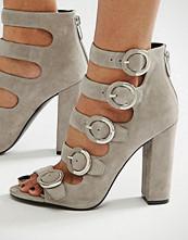KENDALL + KYLIE Grey Suede Buckle Sandals