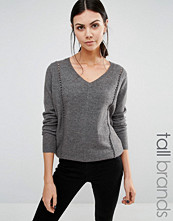 Y.A.S Tall Zelena V Neck Jumper With Stitch Detail