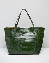 Glamorous Moc Croc Tote In Forest Green