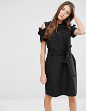 YMC Cold Shoulder Waist Tie Dress