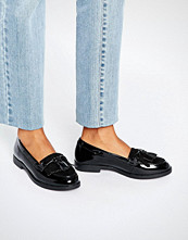 Head Over Heels by Dune Gwenie Black Fringed Loafer Shoes