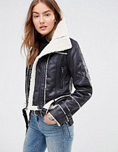 Brave Soul Faux Shearling Aviator Jacket